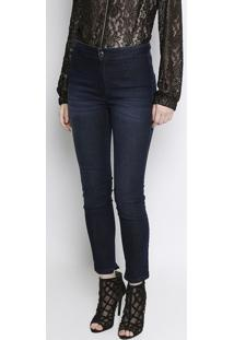 Jeans High Second Skin Ankle Com Recortes - Azul Escuro