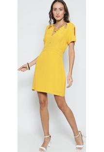 2d45cae83 ... Vestido Liso Com Vazados- Amarelo Escuro- Sommersommer