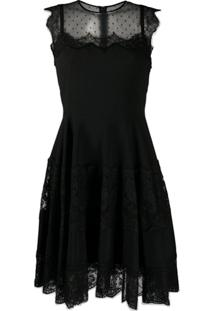 Dolce & Gabbana Vestido Com Pregas E Mesh - Preto