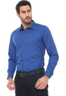 Camisa Yacht Master Slim Estampada Azul