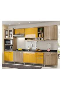Cozinha Completa Multimóveis Com 8 Peças Sicília 5835 Argila/Amarelo