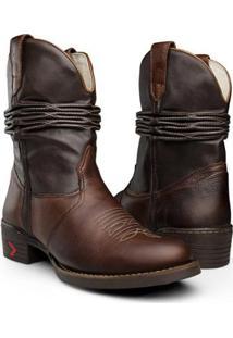Bota Texana Capelli Boots Country Sanfonada Couro Com Detalhes Costura Tamarindo Masculina - Masculino-Café