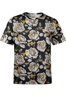 Camiseta Estampada Over Fame Rosas E Abelhas