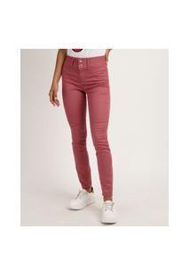 Calça Jeans Skinny Cintura Média Rosa Escuro