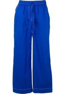 P.A.R.O.S.H. Drawstring Flared Trousers - Azul