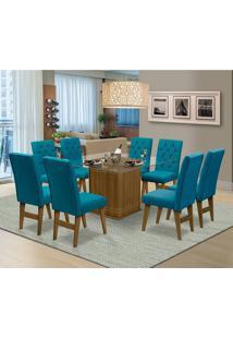 Mesa Para Sala De Jantar Saint Louis Com 8 Cadeiras – Dobuê Movelaria - Mell / Turquesa