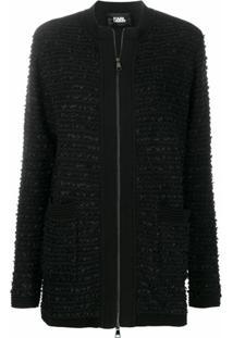 Karl Lagerfeld Cardigan De Tweed - Preto