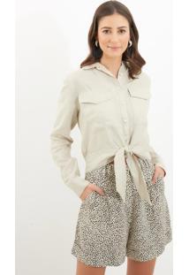 Camisa Le Lis Blanc Mariane Curta Alfaiataria Linho Metalizado Off White Feminina (Verde, 36)