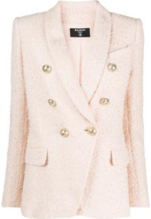 Balmain Textured Double-Breasted Blazer - Rosa