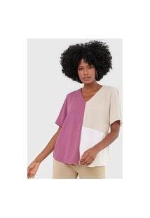 Blusa Maria Valentina Color Block Roxa/Bege