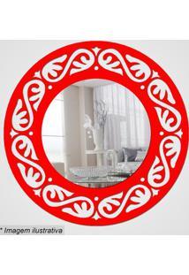 Espelho Círculo Com Recortes- Espelhado & Vermelho- Cia Laser