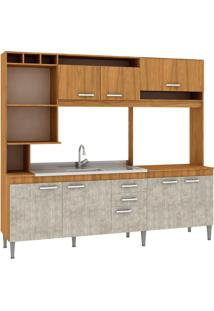 Cozinha Compacta Helen 8 Portas Sem Tampo Nogal/Concreto - Fellicci