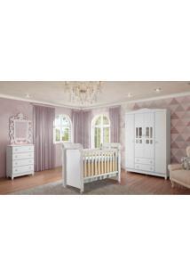 Dormitório Guarda Roupa Ariel 4 Portas/Cômoda 4 Gavetas E Berço Mirelle Branco Carolina Baby - Tricae