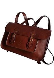 Mochila Line Store Leather Satchel N2 Média Couro Marrom Avermelhado.