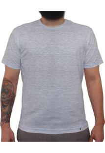 Camiseta Clássica Masculina Lisa Mescla Cinza