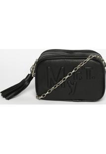 Bolsa Com Relevo & Bag Charm- Preta & Prateada- 13X2My Favorite Things