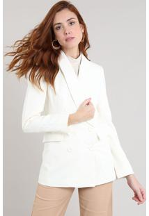 Blazer Feminino Alongado Transpassado Off White