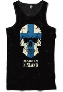 Regata Bsc Caveira País Finlândia Sublimada Preto
