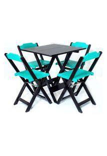 Jogo Mesa Madeira Dobravel Com 4 Cadeiras Colorida Tabaco/Turquesa