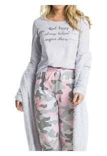 Pijama Longo Mescla Militar Malwee Liberta (1000052475) Algodão