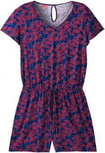 Macaquinho Em Viscose Stretch Floral Wee! Plus Size - Feminino-Vermelho+Azul