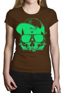 Camiseta Baby Look Hshop Green Skull - Marrom