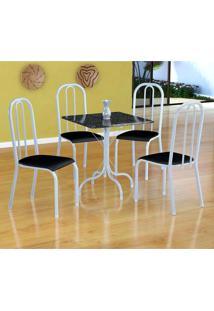 Conjunto De Mesa Malaga Com 4 Cadeiras Madri Branco E Preto Liso