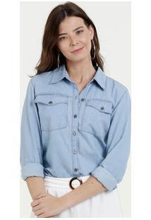 30e5ef4fa ... Camisa Feminina Jeans Bolso Manga Longa Marisa