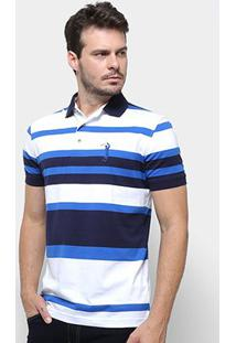 Camisa Polo Aleatory Listrada Fio Tinto Masculina - Masculino-Azul+Branco