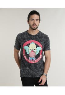 Camiseta Masculina Krusty Os Simpsons Marmorizada Manga Curta Gola Careca Chumbo