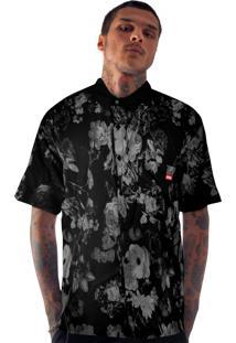 Camisa Social Prison Gray Floral Manga Curta Preta