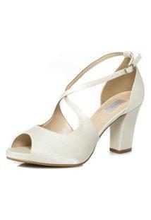 Sandália Noiva Branca Salto Confortável - 62098 Off White