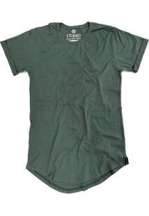 Camiseta Longline Stoned Lisa Masculina - Masculino-Verde
