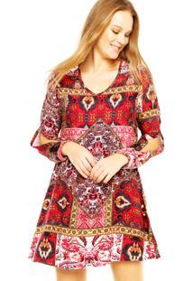 Vestido Art Fashion Recortes Vermelho