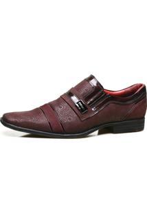 Sapato Social Calvest Em Couro Com Textura Bordo