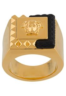 Versace Leather Detail Logo Ring - Dourado