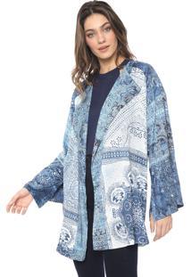 Kimono Sacada Cetim Paraíso Azul/Branco