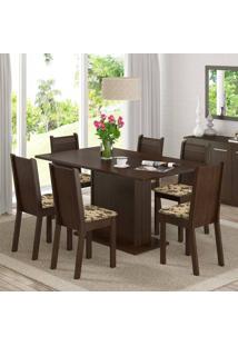 Conjunto Sala De Jantar Mesa E 6 Cadeiras Megan Madesa Tabaco/Bege Marrom