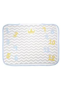 Toalha De Banho Bebê Masculino Chevron Com Capuz Branco E Azul Mesversário - Tecebem - Tamanho Único - Branco,Azul,Cinza