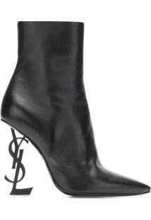 Saint Laurent Ankle Boot 'Opyum 110' De Couro - Preto