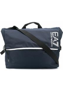 Ea7 Emporio Armani Bolsa Carteiro Com Estampa De Logo - Azul