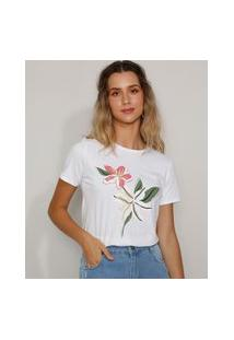 Camiseta Feminina Flor Manga Curta Decote Redondo Off White