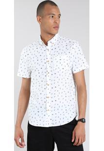 Camisa Masculina Mini Print Folhagem Com Bolso Manga Curta Off White