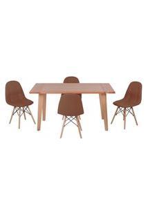 Conjunto Mesa De Jantar Em Madeira 150X80 Vértice + 4 Cadeiras Botonê - Marrom