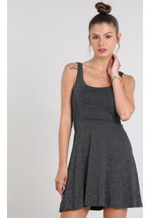 Vestido Feminino Evasê Com Lurex Preto