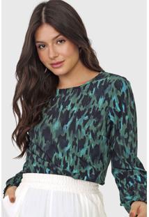 Blusa Malwee Abstrata Verde