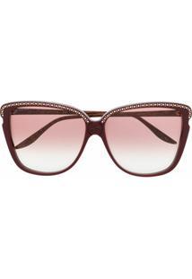Gucci Eyewear Óculos De Sol Quadrado Com Aplicação De Tachas E Cristais - Marrom