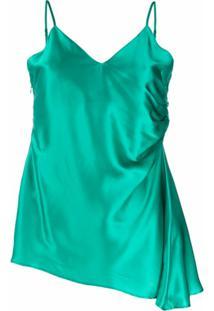Mm6 Maison Margiela Blusa Assimétrica Com Alça Finas - Verde