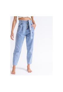 Calça Clochard Jeans Botões La Lima-36 Jeans