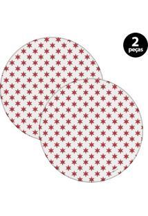 Capa Para Sousplat Mdecore Natal Estrela Branco 2Pçs